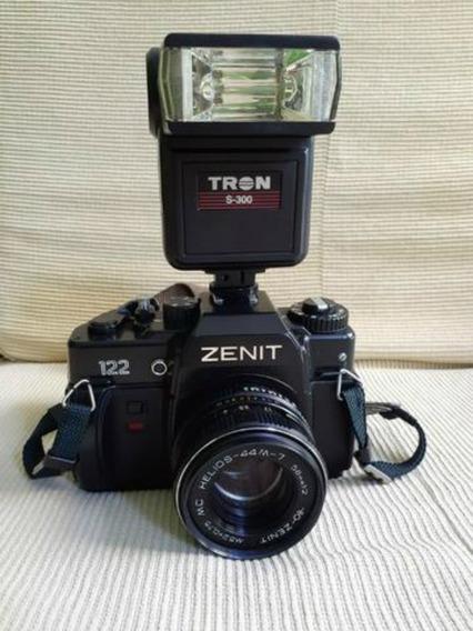 Máquina Fotográfica Analógica Zenit 122 Com Flash Tron S350