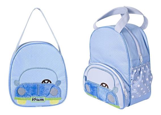 Kit Mochila E Lancheira Infantil Menino Carro Bebê E Escolar