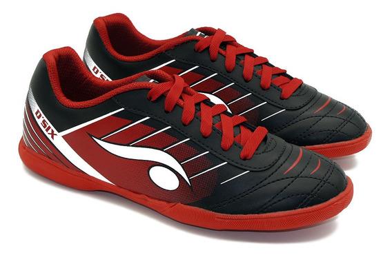 Chuteira Indoor Futsal Preta E Vermelha - Dsix
