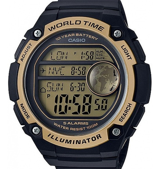 Relógio Casio Masculino Digital World Mapa Ae-3000w-9avdf