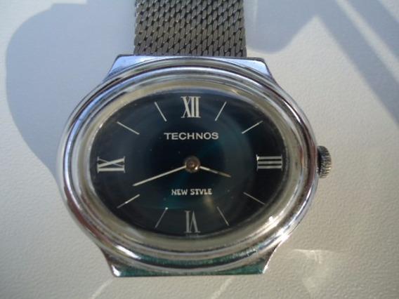 Relógio Technos Raro A Corda Antigo Feminino Azul