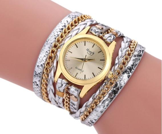 Relógio Pulseira De Couro, Feminino Dourado Leopard Luxo