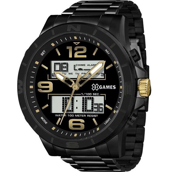 Relógio X-games Anadigi Preto Dourado Original Xmnsa001p2px