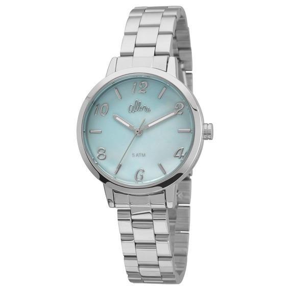 Relógio Allora Al2036cp/3a Prata Com Fundo Azulado