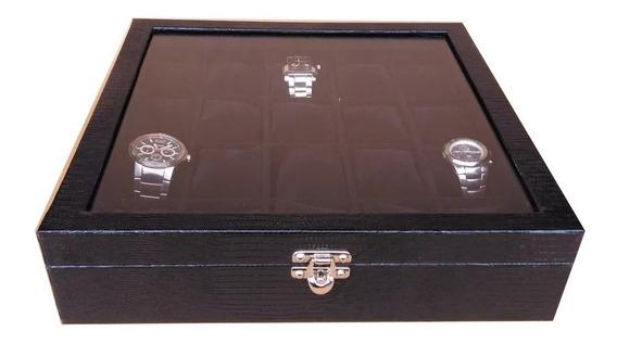 Caixa Maleta Estojo 20 Relógios Couro Ecológico Com Vidro.