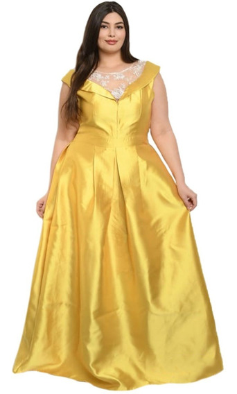 Vestido Talla Extra Satinado Corte Princesa, Fiesta, Boda.