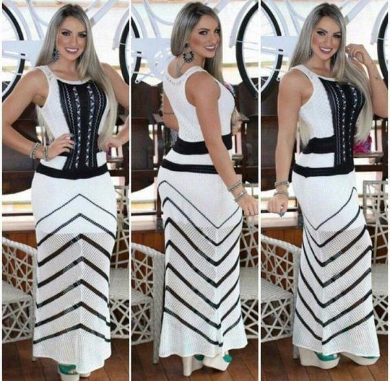 Vestido Longo Tricot Trico Festa Roupas Femininas