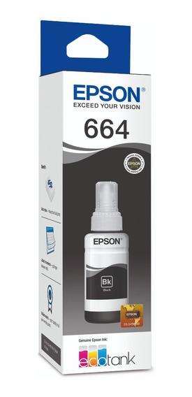 Botella De Tinta Epson T664 Negra