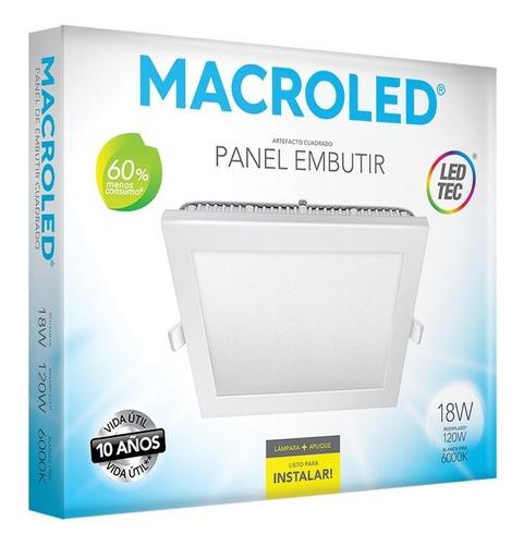 Macroled Panel Led Cuadrado Embutir 18w Frío 6000k Pec18
