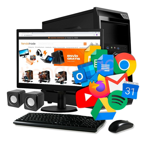Imagen 1 de 10 de Pc Cpu Nueva Computadora Escritorio Completa Monitor