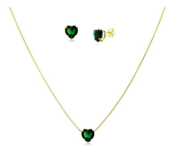 Conjunto Colar Brinco Coração Verde Esmeralda Banhado Ouro
