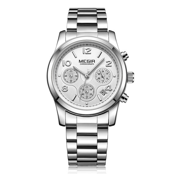 Megir Moda Luxo Inoxidável Aço Mulheres Relógios 3atm