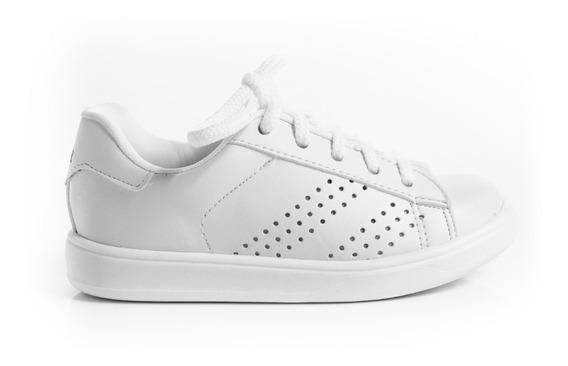 Zapatillas Zapatos Escolar Unisex Con Cordones Blanco Negro