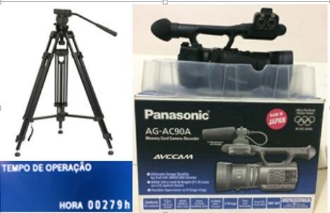 Filmadora Panasonic Ac90 Semi Nova 279h De Uso Acess E Tripe