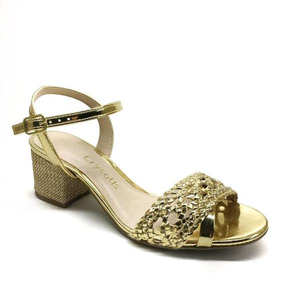 Sandália Feminina Crysalis Glamour Dourado 41715942 Promoção