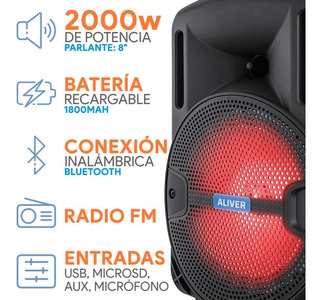 Parlante Portátil Bluetooth Usb Fm Led Control + Micrófono
