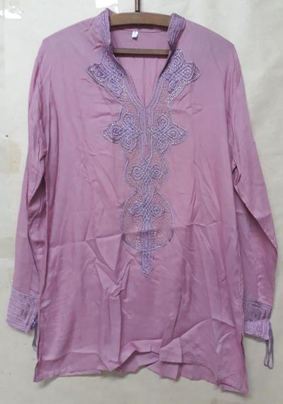 Blusa Casaca Mujer Marroqui Bordada Rosa M/l Manga Larga