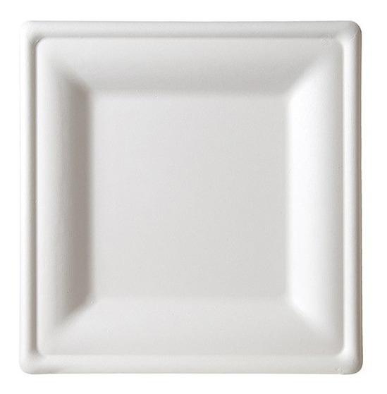 Plato Cuadrado 6×6 Caña De Azúcar Biodegradable (paquete)