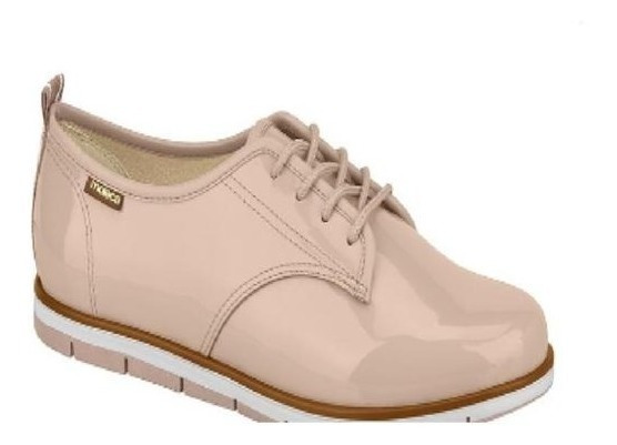 Sapato Tênis Oxford Verniz Preto Rosa Moleca Pronta Entrega