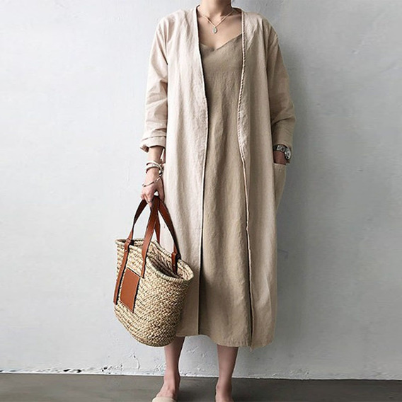 Vintage Mujer Oversize Abierto Frontal Cardigan Casual Llanu