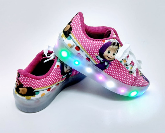 Tênis Bota De Led Infantil Personagens Original Luz