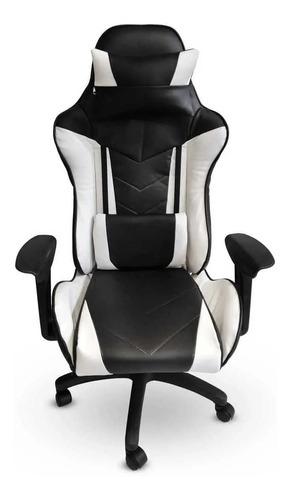 Silla de escritorio MRB DG gamer pro basic gamer  negra y blanca con tapizado de cuero sintético