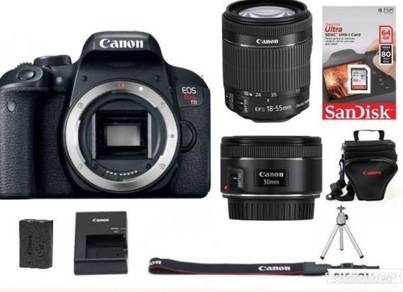 Câmera Canon T7i 18-55mm+50mm Canon+64gb+bolsa+tripé C/ N F