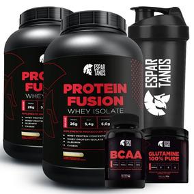 Kit 2x Protein Fusion Whey Isolado + Bcaa + Glutamina + Copo