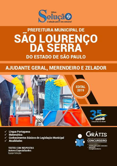 Apostila São Lourenço Da Serra Sp 2019 Ajudante Geral E Etc