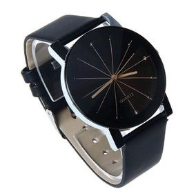 Relógio Unissex Pulseira De Couro Quartzo Luxo Pronta Entreg