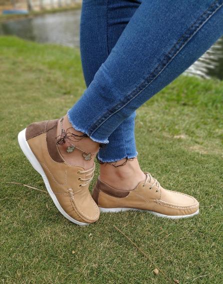 Zapatos Mocasines Nauticos Beige M509 Dama