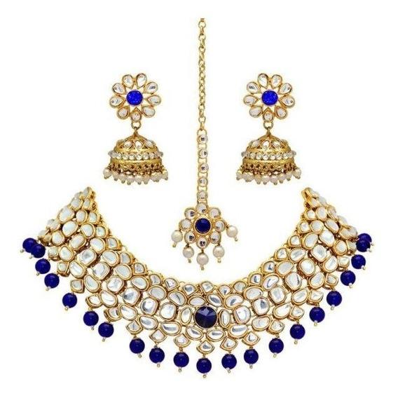 Joyeria Hindu, Kundan Set, 3 Pzs, Aretes, Collar, Tika No.2