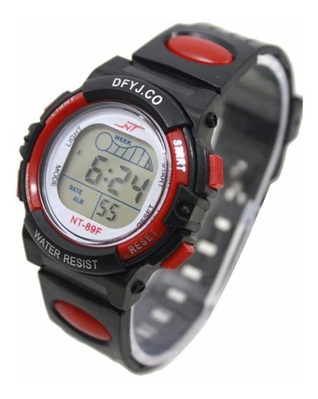 Relógio Infantil Digital Led Com Alarme Reistente/agua Verm