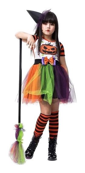Roupa De Halloween Infantil Bruxa Zelda Luxo Com Vassoura