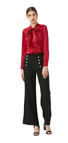 Moda Oficina Señora Pantalones Mujer Elegante Botón Diseñ