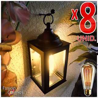 Farol Exterior Lampara Edison Vintage Filamento 24w Pack X8u Difusor Colonial Dual Minimalista Fanal Vela Fachada Patio