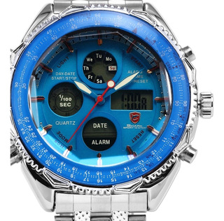 Reloj Shark Water Resist Acero Inox. Alarma Calidad 100%