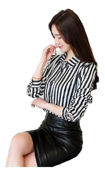 Camisa Camisete Blusa Feminina Manga Longa Listrada Escritório Chic