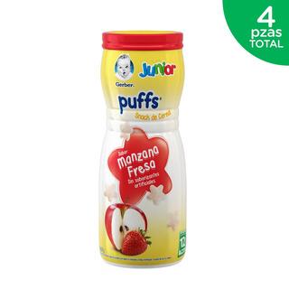 Kit Cereal Gerber Junior Puffs Etapa 4 Manzana Fresa 4 Pzs