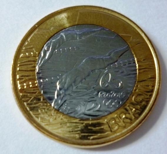 Brasil Moneda Bimetalica 1 Real 2014 J. Olimpicos Natacion