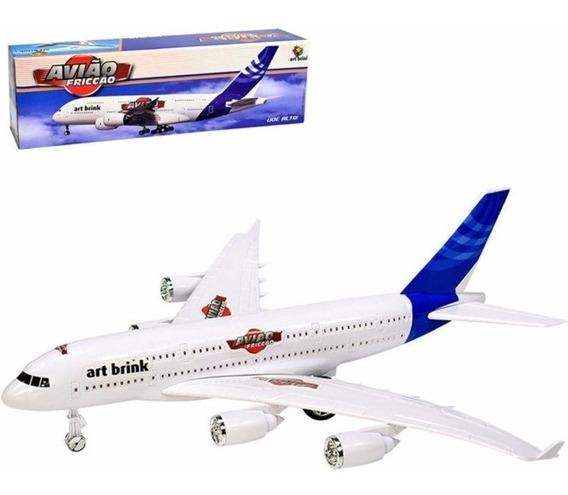 Kit C/ 2 Avião Boeing 35cm C/ Fricção Brinquedo Decoração