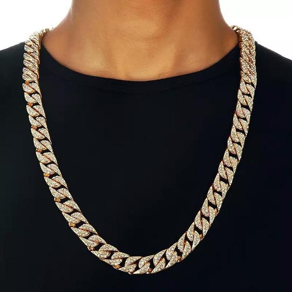 Colar 75cm Cravejada Ouro 18k Hip Hop Corrente 14m Lxbr Bl53