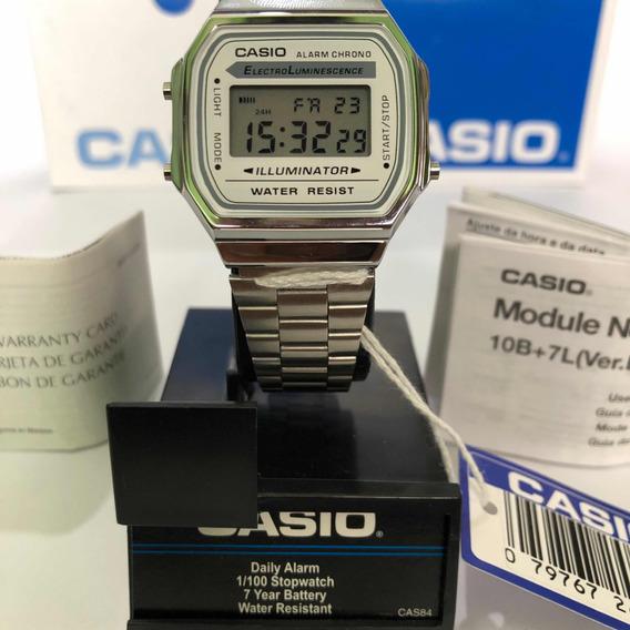 Reloj Casio A168 Plata Y Blanco Original Nuevo Retro Vintage