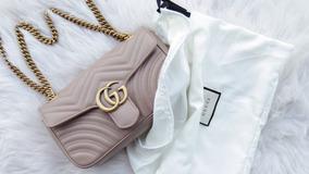 Marmont Mini Gucci Gg Dust Pink Rose Ou Black Matelasse