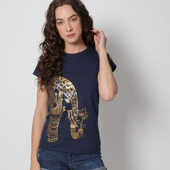 Playera Azul Marino Con Elefante Hindú Estampado