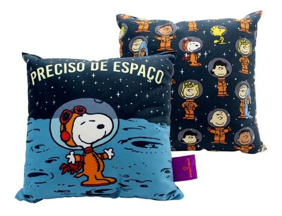 Almofada Fibra Veludo Snoopy No Espaço Peanuts Desenho Traje