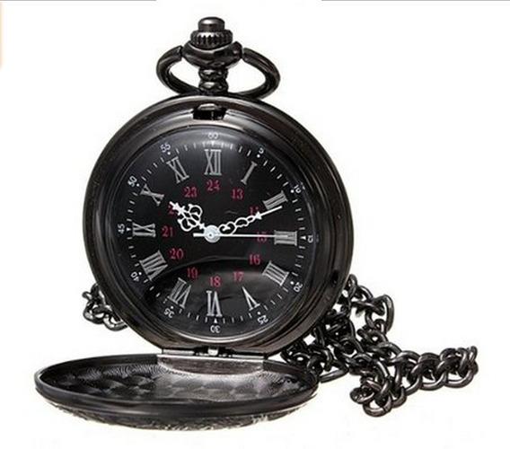 Reloj De Bolsillo De Flores Romanas Negras Vintage