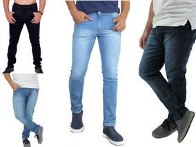 Kit Jeans Masculino Skinny Atacado Lycra Trabalho 4 Peças