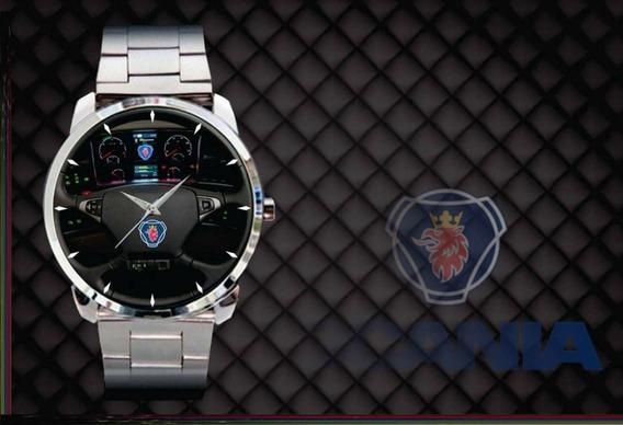 2 Relógio De Pulso Personalizado Painel Scania Caminhão Aço
