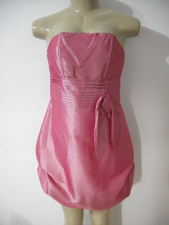 Vestido Rosa Pink Tqc Tafeta Zoom Forever M Forrado